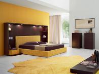 Спален комплект в махагон и жълто